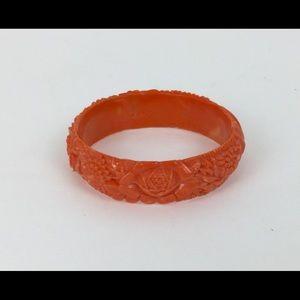 Jewelry - Vintage Celluloid Bracelet Orange Floral 1950s